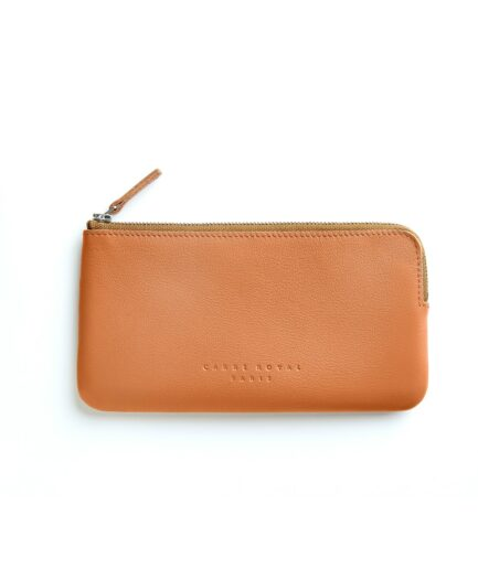 Gold Pouch in Calfskin Leather by Carré Royal Front (AT305 Gold)