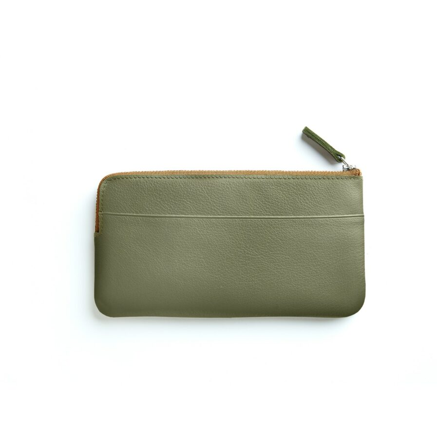 Khaki Pouch in Calfskin Leather by Carré Royal Back (AT305 Khaki)