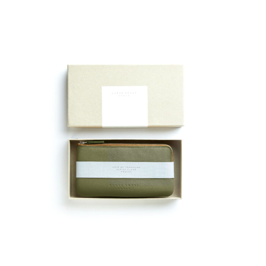 Khaki Pouch in Calfskin Leather by Carré Royal in the Box (AT305 Khaki)