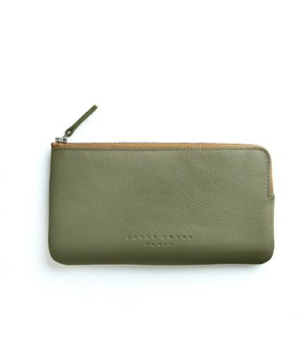Khaki Pouch in Calfskin Leather by Carré Royal Front (AT305 Khaki)