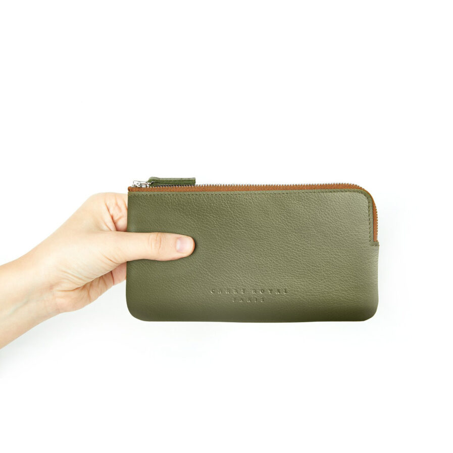Khaki Pouch in Calfskin Leather by Carré Royal at Hand (AT305 Khaki)
