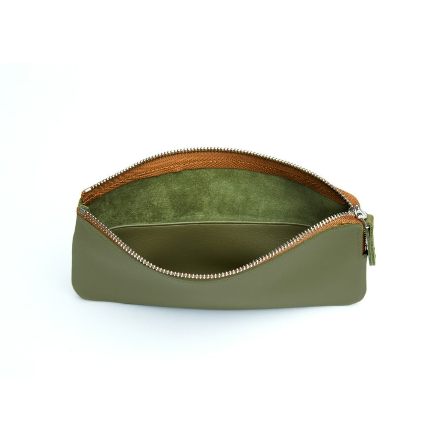 Khaki Pouch in Calfskin Leather by Carré Royal Open (AT305 Khaki)
