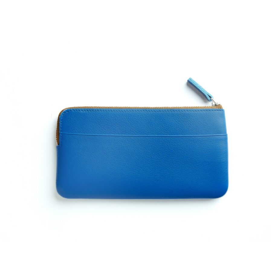 Light Blue Pouch in Calfskin Leather by Carré Royal Back (AT305 Light Blue)
