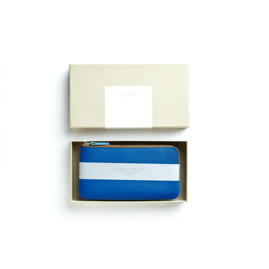Light Blue Pouch in Calfskin Leather by Carré Royal in the Box (AT305 Light Blue)
