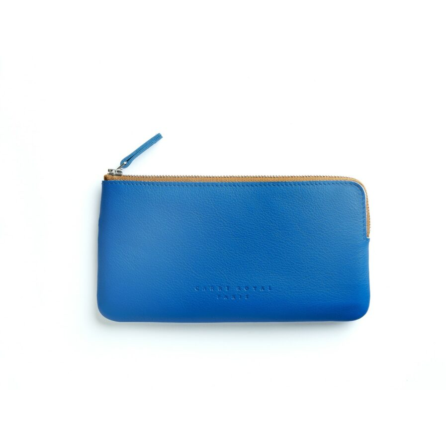 Light Blue Pouch in Calfskin Leather by Carré Royal Front (AT305 Light Blue)