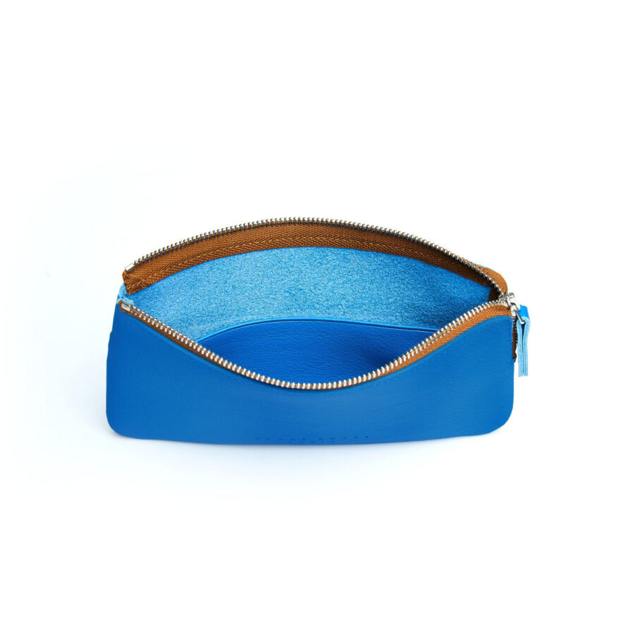 Light Blue Pouch in Calfskin Leather by Carré Royal Open (AT305 Light Blue)