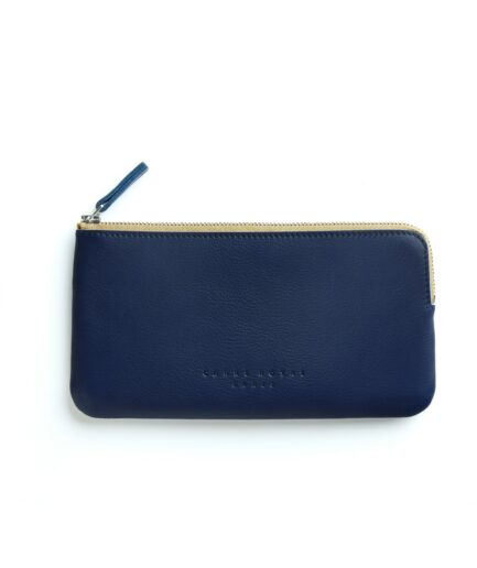 Navy Pouch in Calfskin Leather by Carré Royal Front (AT305 Navy)
