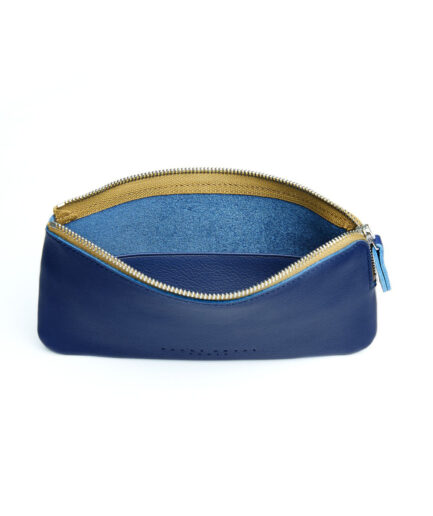 Navy Pouch in Calfskin Leather by Carré Royal Open (AT305 Navy)
