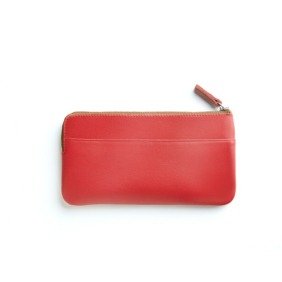 Red Pouch in Calfskin Leather by Carré Royal Back (AT305 Red)