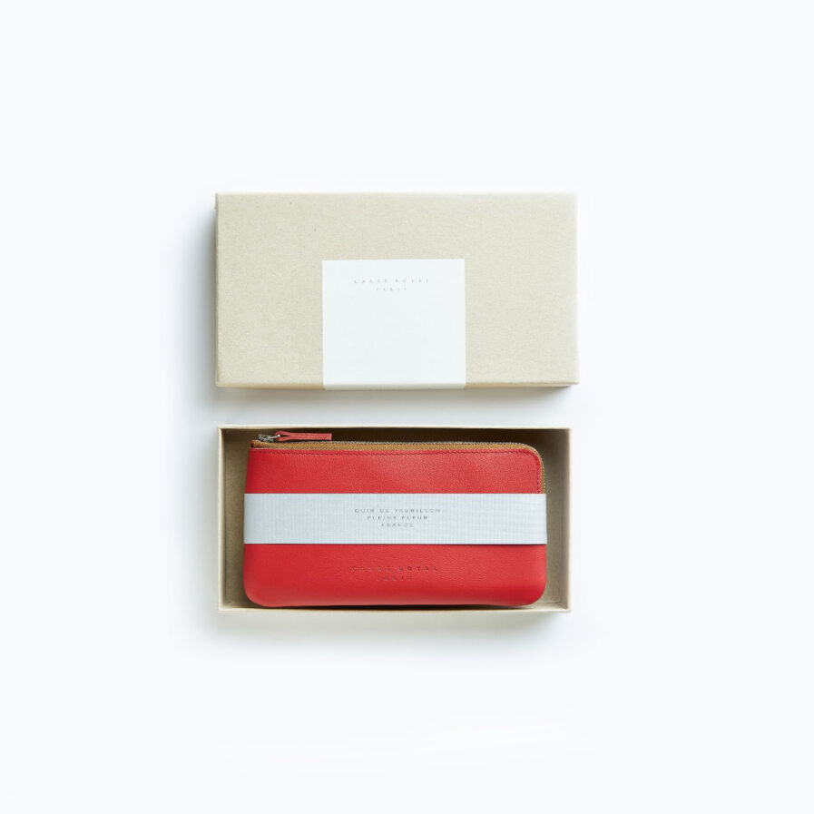Red Pouch in Calfskin Leather by Carré Royal in the Box (AT305 Red)