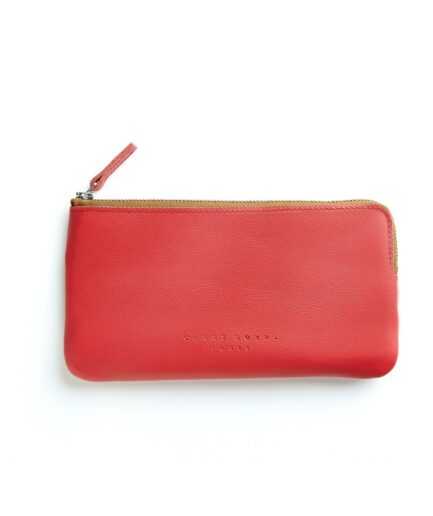 Red Pouch in Calfskin Leather by Carré Royal Front (AT305 Red)