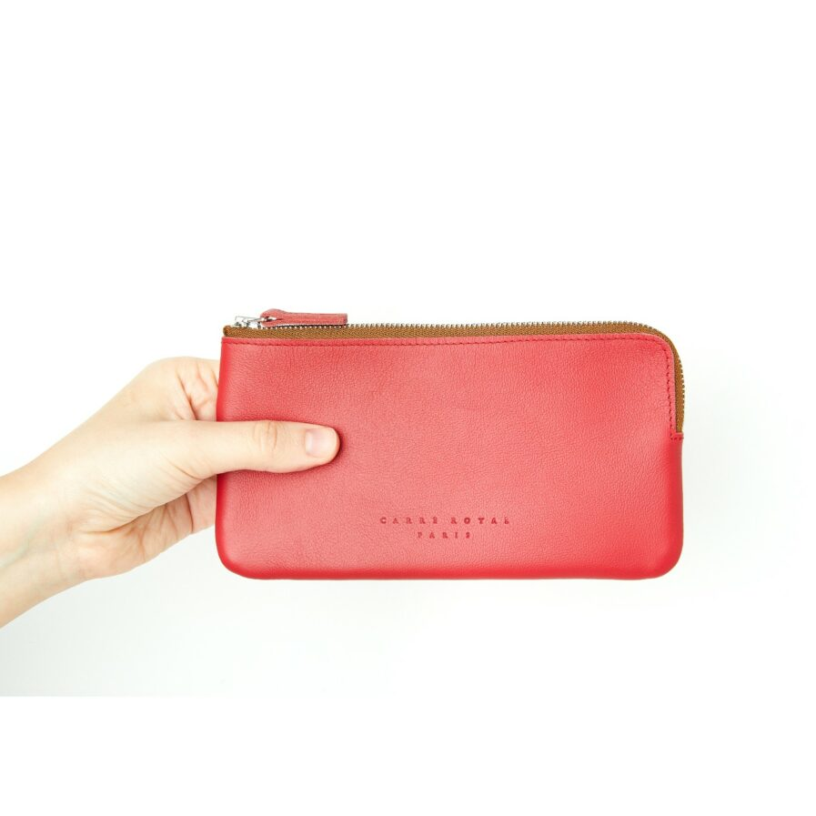 Red Pouch in Calfskin Leather by Carré Royal at Hand (AT305 Red)