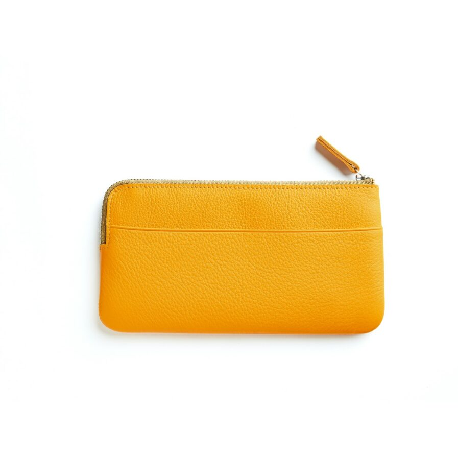 Yellow Pouch in Calfskin Leather by Carré Royal Back (AT305 Yellow)
