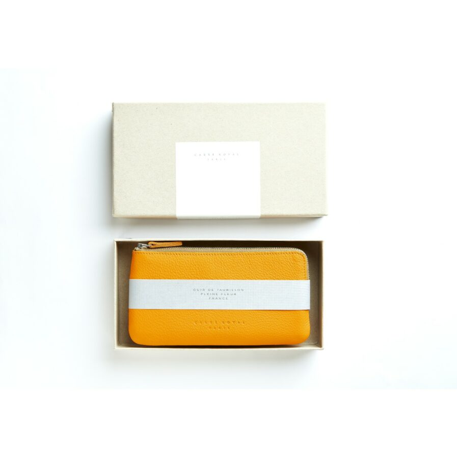 Yellow Pouch in Calfskin Leather by Carré Royal in the Box (AT305 Yellow)