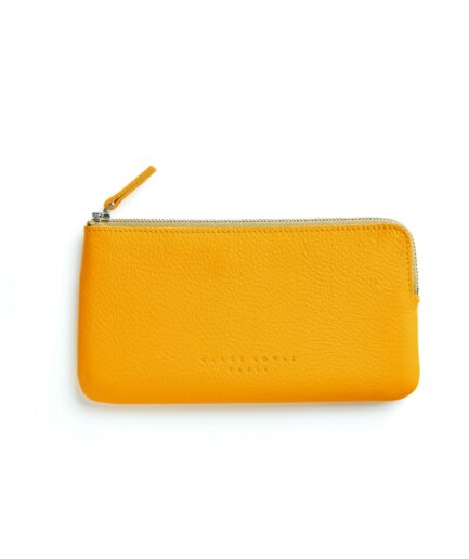 Yellow Pouch in Calfskin Leather by Carré Royal Front (AT305 Yellow)