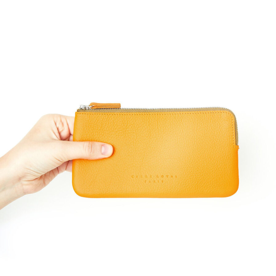 Yellow Pouch in Calfskin Leather by Carré Royal at Hand (AT305 Yellow)