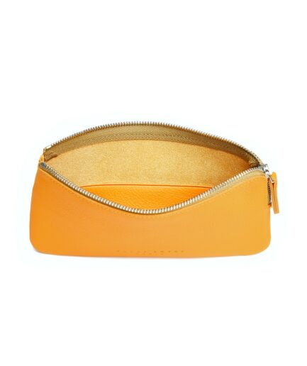 Yellow Pouch in Calfskin Leather by Carré Royal Open (AT305 Yellow)